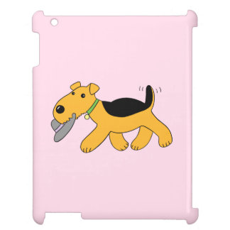 Cute Kawaii Airedale Dog With Hat iPad Case