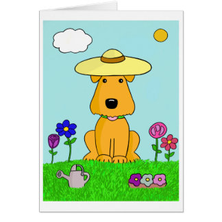 Cute Kawaii Airedale Terrier Dog in Garden Card