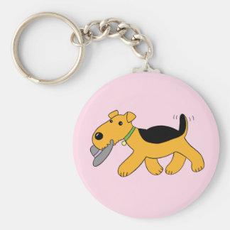 Cute Kawaii Airedale Terrier Dog w Hat Keychain