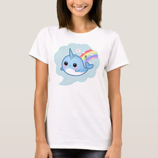 Cute kawaii baby narwhal with rainbow T-Shirt