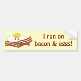 Cute Kawaii Bacon and Eggs Cartoon Bumper Sticker