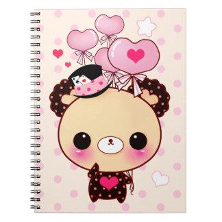 Cute kawaii bear and pink balloons spiral notebook