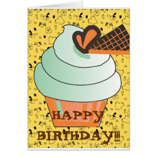 CUTE KAWAII BIRTHDAY CUPCAKE CARD