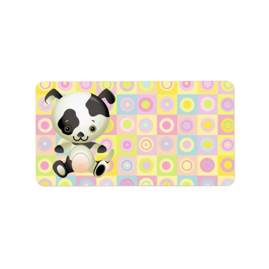 Cute Kawaii Black and white Puppy Dog Label