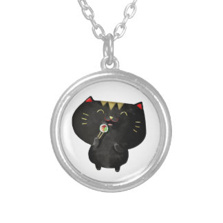 Cute Kawaii Black Sushi Cat Round Pendant Necklace
