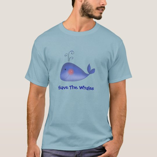 Cute Kawaii Blue Whale Cartoon Save The Whales Art T-Shirt