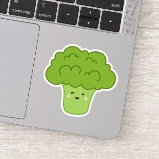 Cute kawaii broccoli cartoon character