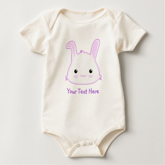 Cute Kawaii Bunny Rabbit Face in Lilac and White Baby Bodysuit