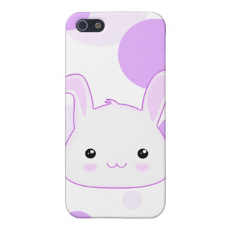 Cute Kawaii Bunny Rabbit Face in Lilac and White iPhone 5 Case