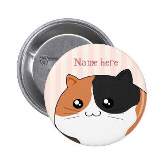 Cute Kawaii Calico kitty cat 6 Cm Round Badge