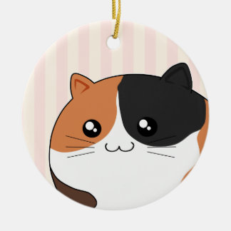 Cute Kawaii Calico kitty cat Double-Sided Ceramic Round Christmas Ornament