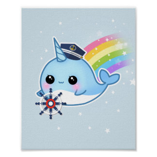 Cute kawaii captain narwhal with rainbow poster