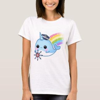 Cute kawaii captain narwhal with rainbow T-Shirt