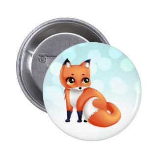 Cute Kawaii cartoon fox 6 Cm Round Badge