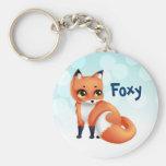 Cute Kawaii cartoon fox Basic Round Button Key Ring