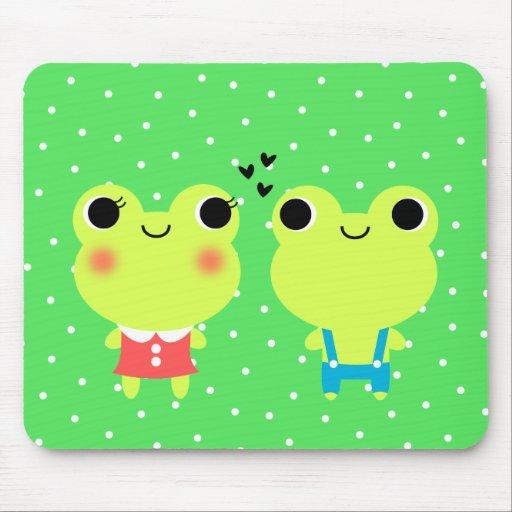 Cute Kawaii Cartoon Frog Couple Mousepad
