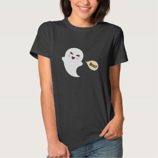 Cute kawaii cartoon ghost saying boo Halloween Tshirts