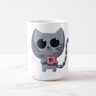 Cute Kawaii Cat with Donut Coffee Mugs