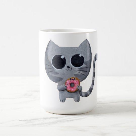 Cute Kawaii Cat with Doughnut Coffee Mug