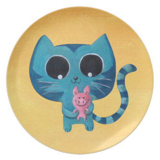 Cute Kawaii Cat with Pig Plate