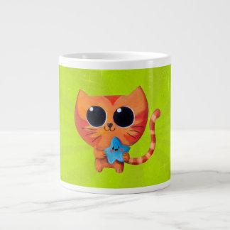 Cute Kawaii Cat with Star Extra Large Mugs