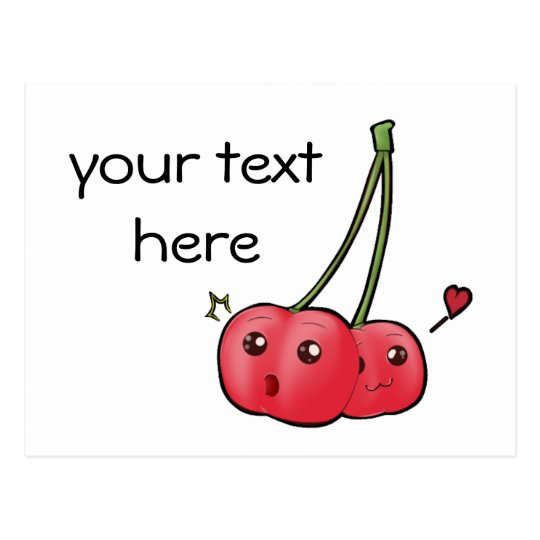 Cute kawaii cherries postcard for your text