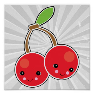 cute kawaii cherries poster