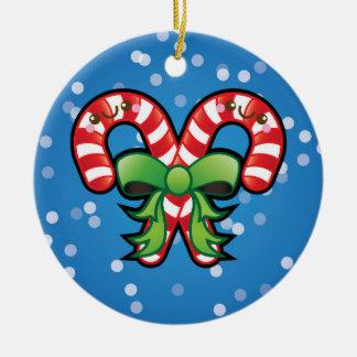 Cute Kawaii Christmas Candy Cane Tree Decoration Round Ceramic Decoration