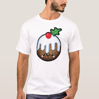 Cute Kawaii Christmas Pudding Mens Tshirt