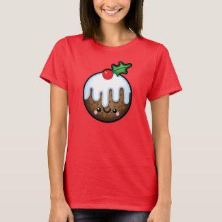 Cute Kawaii Christmas Pudding Womens Tshirt