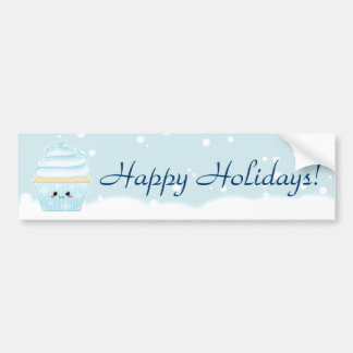 Cute Kawaii Christmas Snowflake cupcake Bumper Sticker