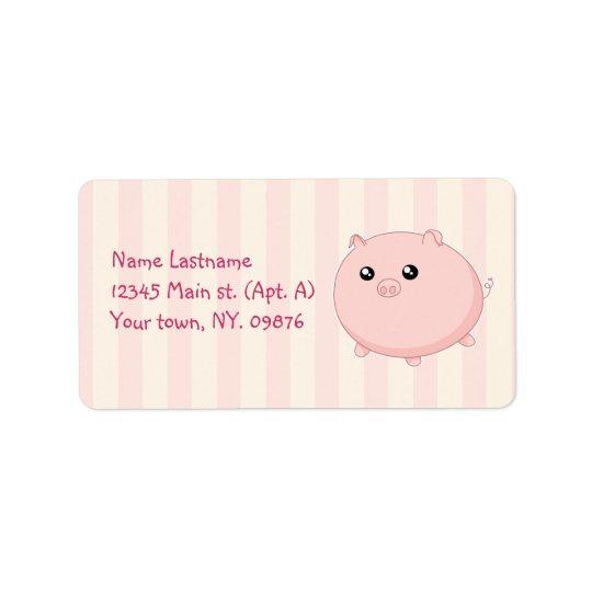 Cute Kawaii chubby pink pig Address Label