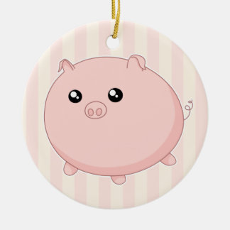 Cute Kawaii chubby pink pig Double-Sided Ceramic Round Christmas Ornament