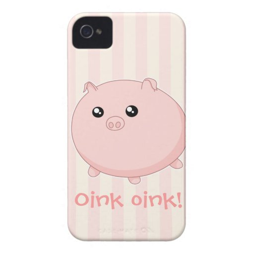 Cute Kawaii chubby pink pig iPhone 4 Case-Mate Cases
