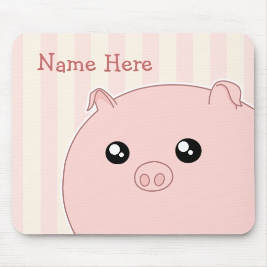 Cute Kawaii chubby pink pig Mouse Mat