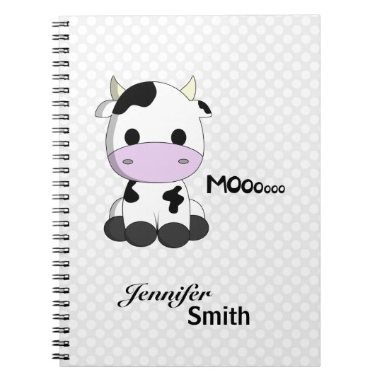 Cute kawaii cow cartoon customisable girls notebooks