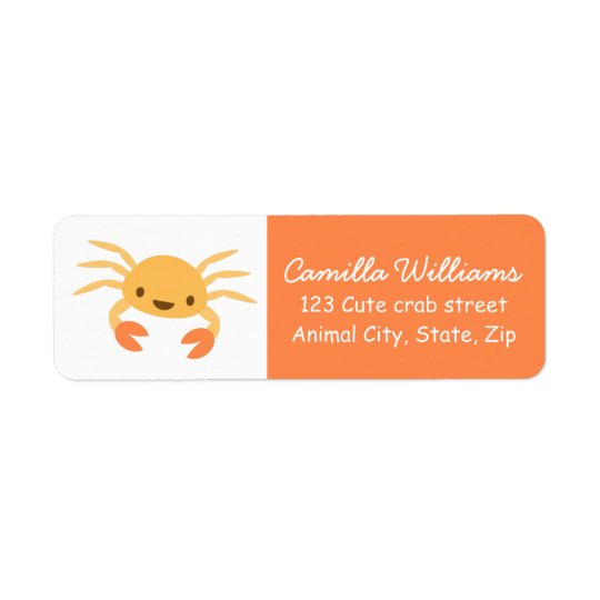 Cute kawaii crab return address label