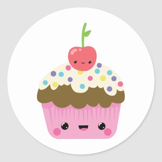 Cute Kawaii Cupcake Classic Round Sticker