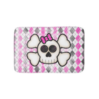 Cute Kawaii Emo Skull and Crossbones on Argyle Bath Mat