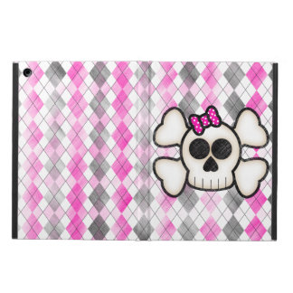 Cute Kawaii Emo Skull and Crossbones on Argyle Case For iPad Air