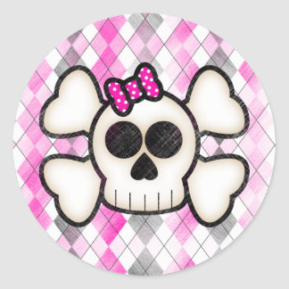 Cute Kawaii Emo Skull and Crossbones on Argyle Classic Round Sticker