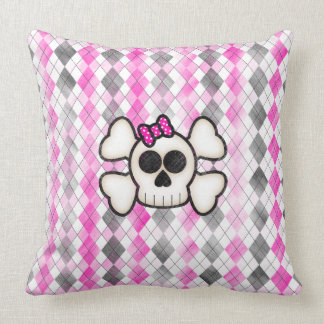 Cute Kawaii Emo Skull and Crossbones on Argyle Cushion