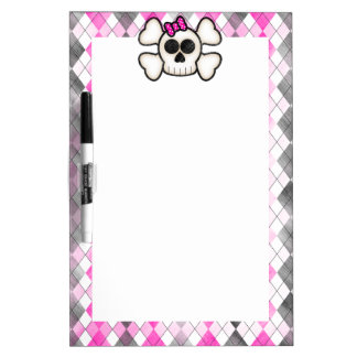 Cute Kawaii Emo Skull and Crossbones on Argyle Dry Erase Board