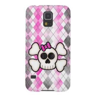 Cute Kawaii Emo Skull and Crossbones on Argyle Galaxy S5 Cover
