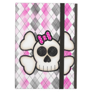 Cute Kawaii Emo Skull and Crossbones on Argyle iPad Air Case