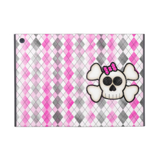 Cute Kawaii Emo Skull and Crossbones on Argyle iPad Mini Case