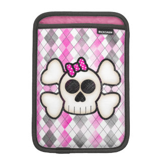 Cute Kawaii Emo Skull and Crossbones on Argyle iPad Mini Sleeve