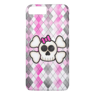 Cute Kawaii Emo Skull and Crossbones on Argyle iPhone 8 Plus/7 Plus Case