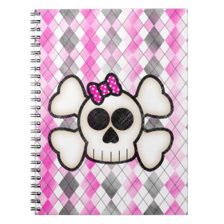 Cute Kawaii Emo Skull and Crossbones on Argyle Notebook