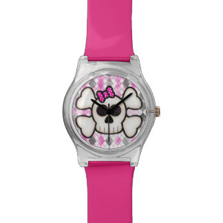 Cute Kawaii Emo Skull and Crossbones on Argyle Watch